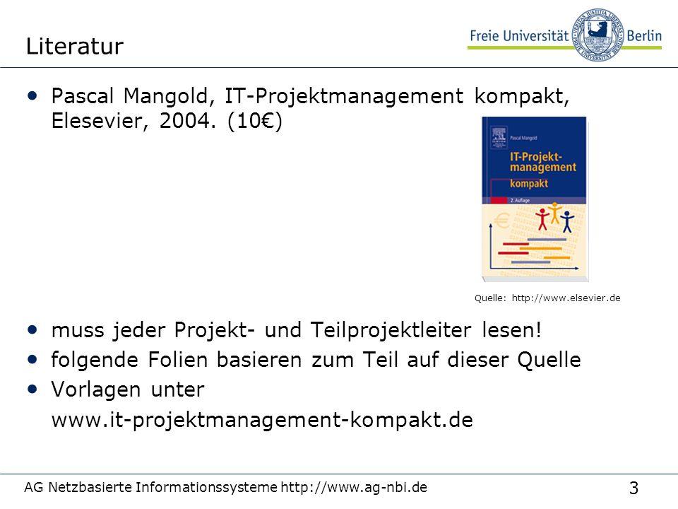 Literatur 3/27/2017. Pascal Mangold, IT-Projektmanagement kompakt, Elesevier, 2004. (10€) muss jeder Projekt- und Teilprojektleiter lesen!