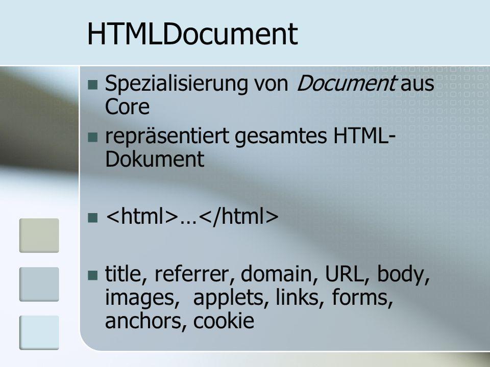 HTMLDocument Spezialisierung von Document aus Core