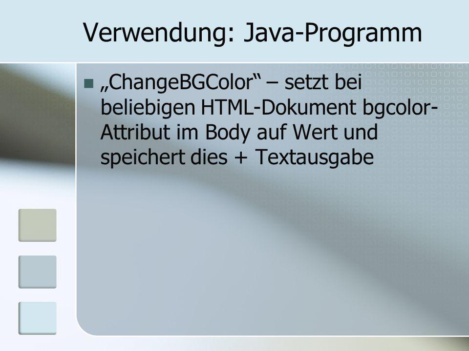 Verwendung: Java-Programm