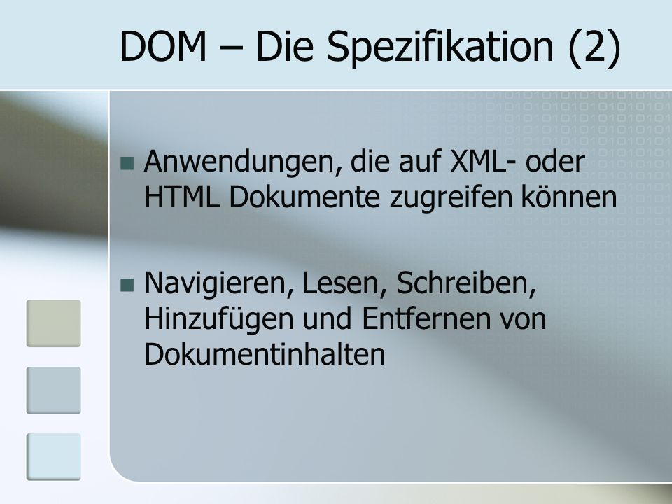 DOM – Die Spezifikation (2)