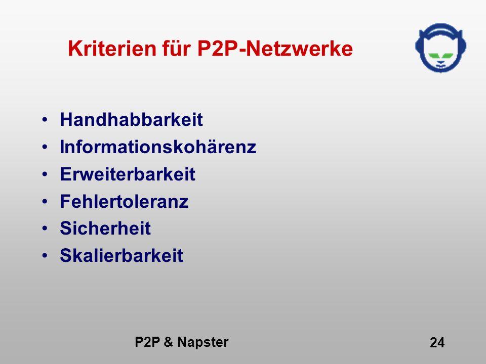 Kriterien für P2P-Netzwerke