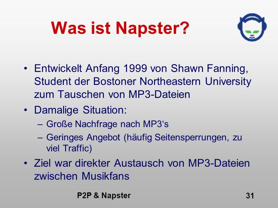Was ist Napster Entwickelt Anfang 1999 von Shawn Fanning, Student der Bostoner Northeastern University zum Tauschen von MP3-Dateien.