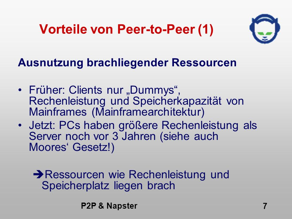 Vorteile von Peer-to-Peer (1)