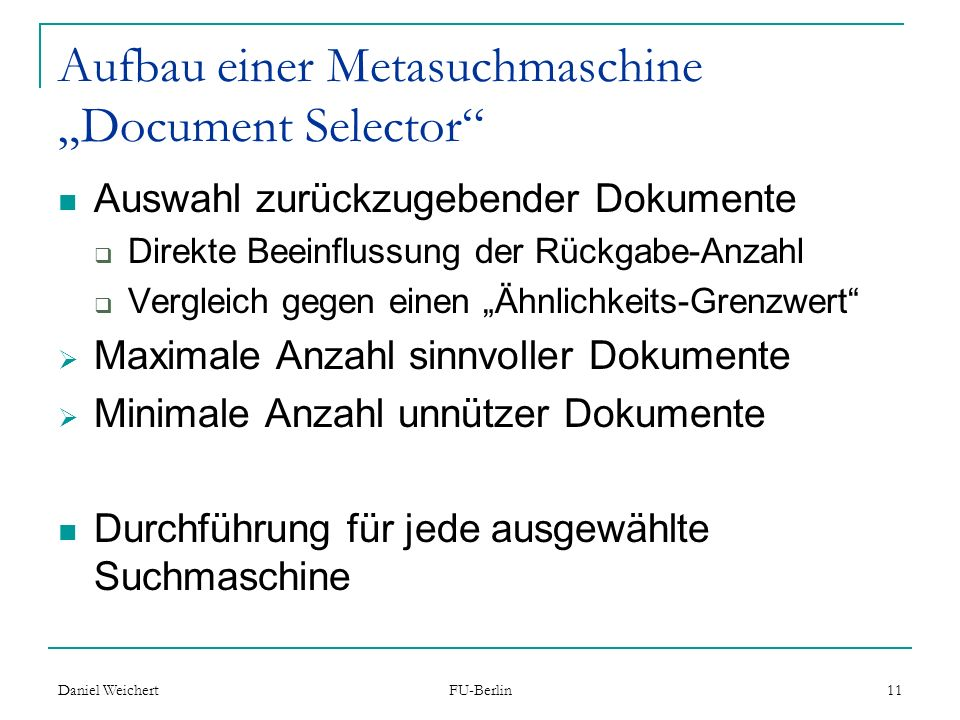 "Aufbau einer Metasuchmaschine ""Document Selector"