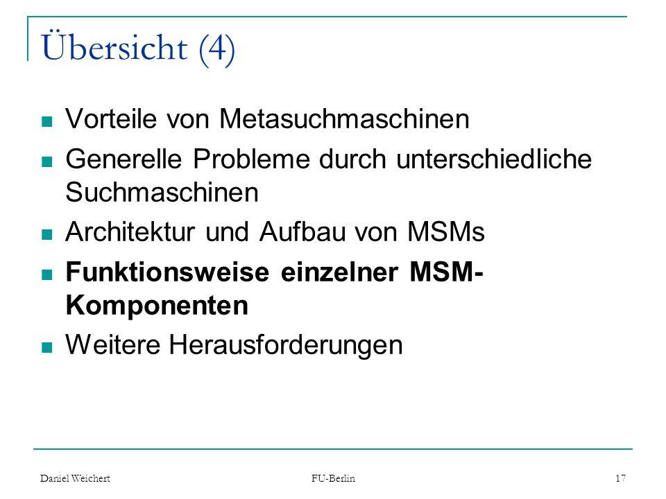 Übersicht (4) Vorteile von Metasuchmaschinen
