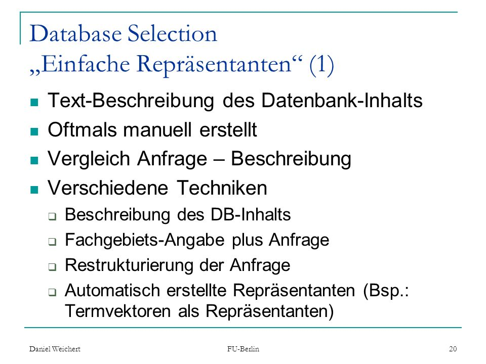 "Database Selection ""Einfache Repräsentanten (1)"