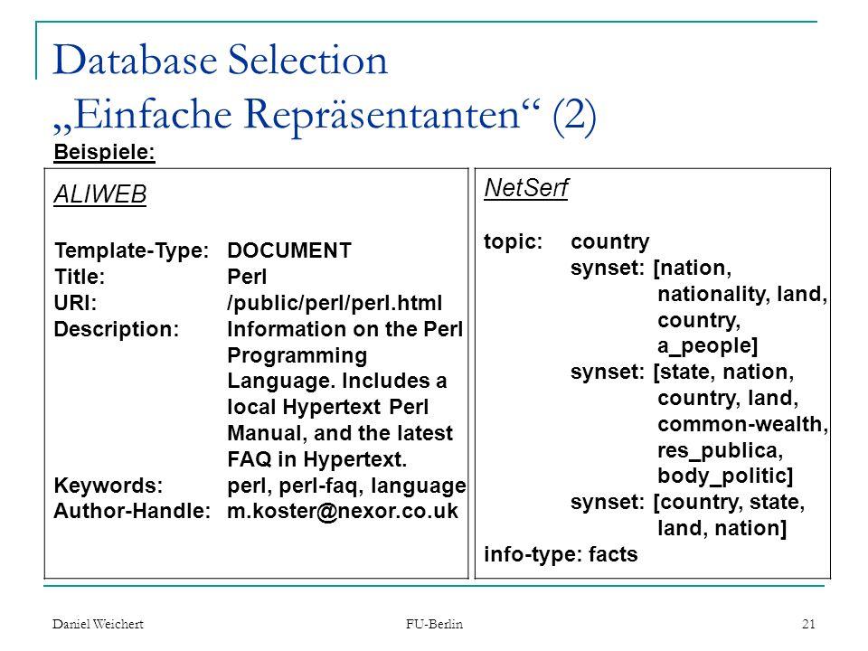 "Database Selection ""Einfache Repräsentanten (2)"