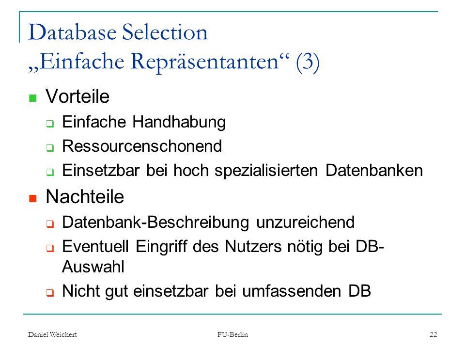 "Database Selection ""Einfache Repräsentanten (3)"