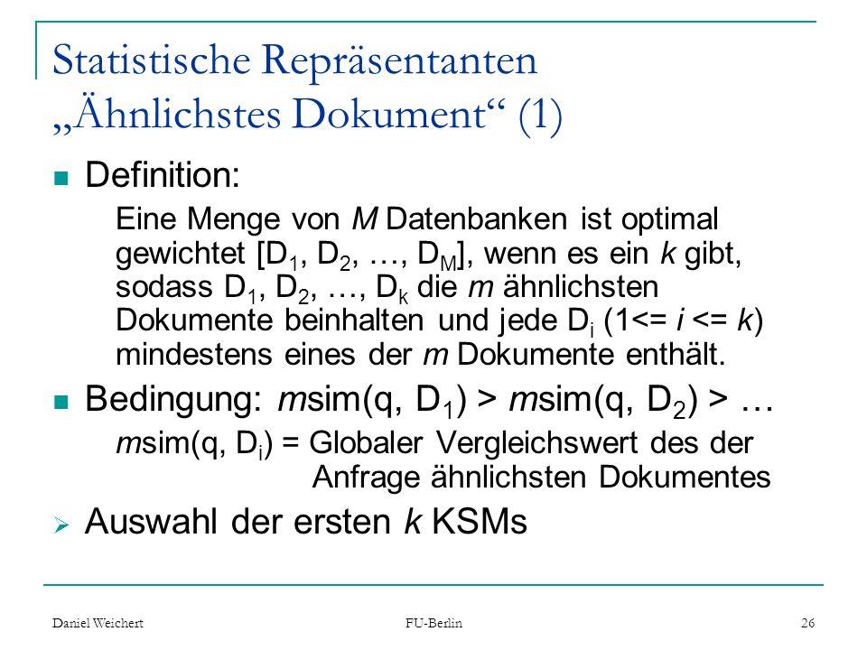 """Statistische Repräsentanten """"Ähnlichstes Dokument (1)"""