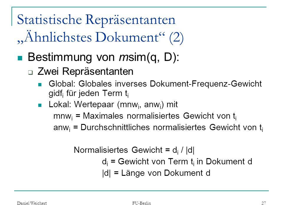 """Statistische Repräsentanten """"Ähnlichstes Dokument (2)"""