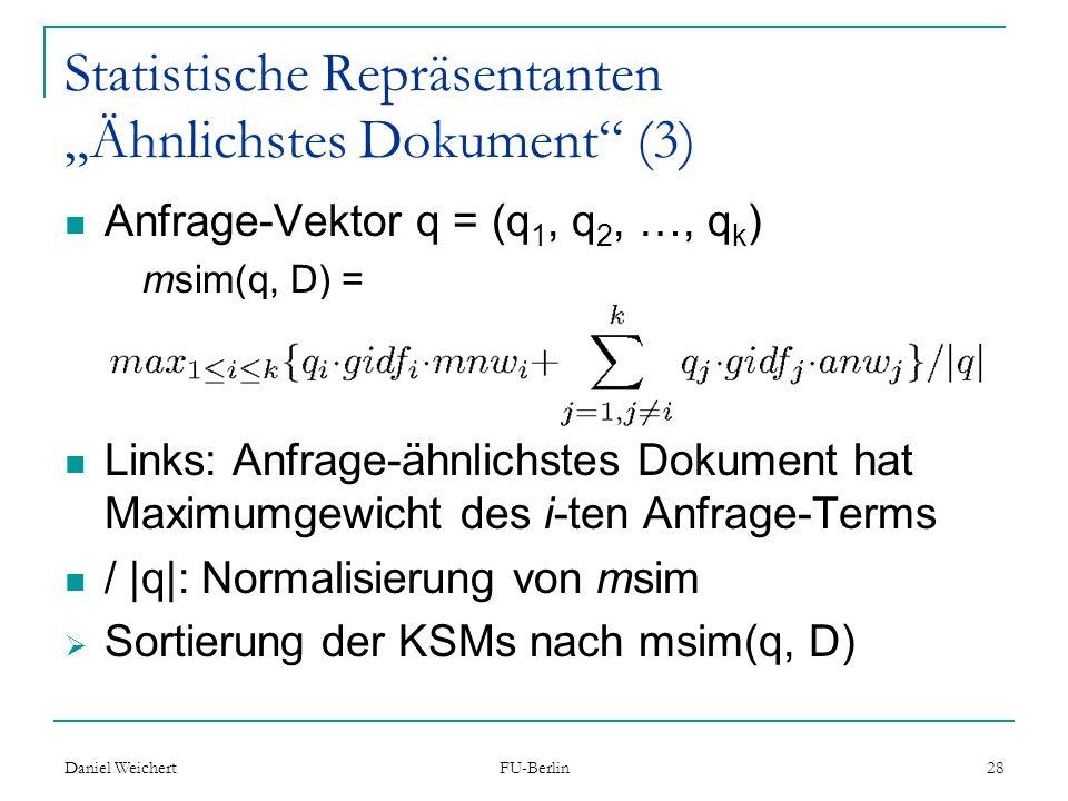 """Statistische Repräsentanten """"Ähnlichstes Dokument (3)"""