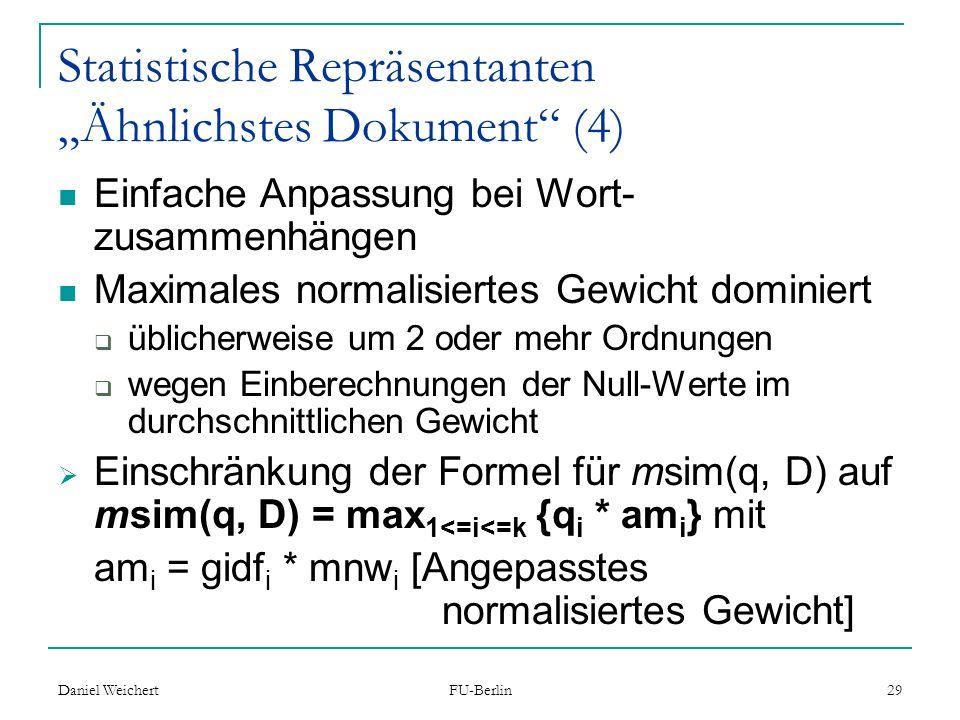 """Statistische Repräsentanten """"Ähnlichstes Dokument (4)"""