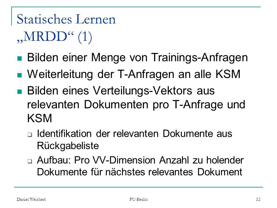 """Statisches Lernen """"MRDD (1)"""
