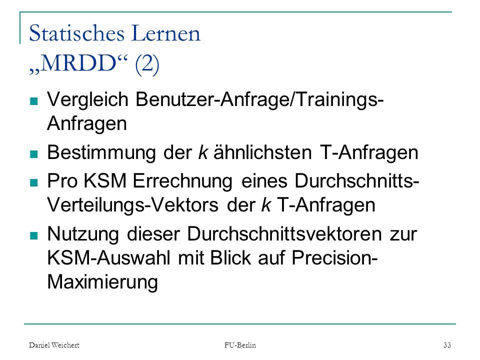 """Statisches Lernen """"MRDD (2)"""