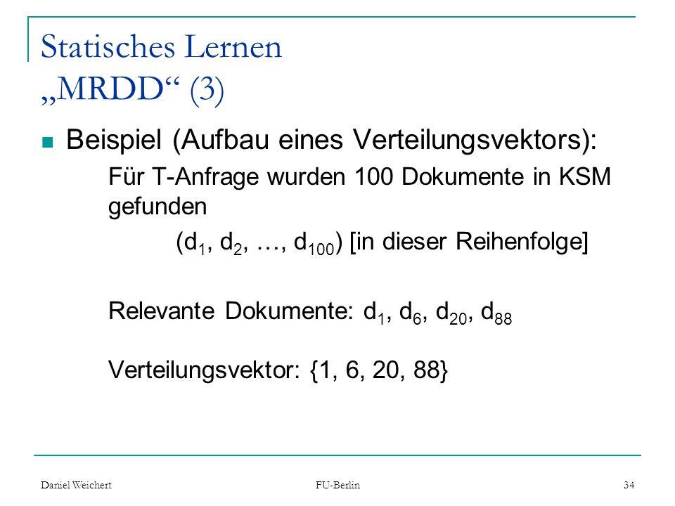 """Statisches Lernen """"MRDD (3)"""