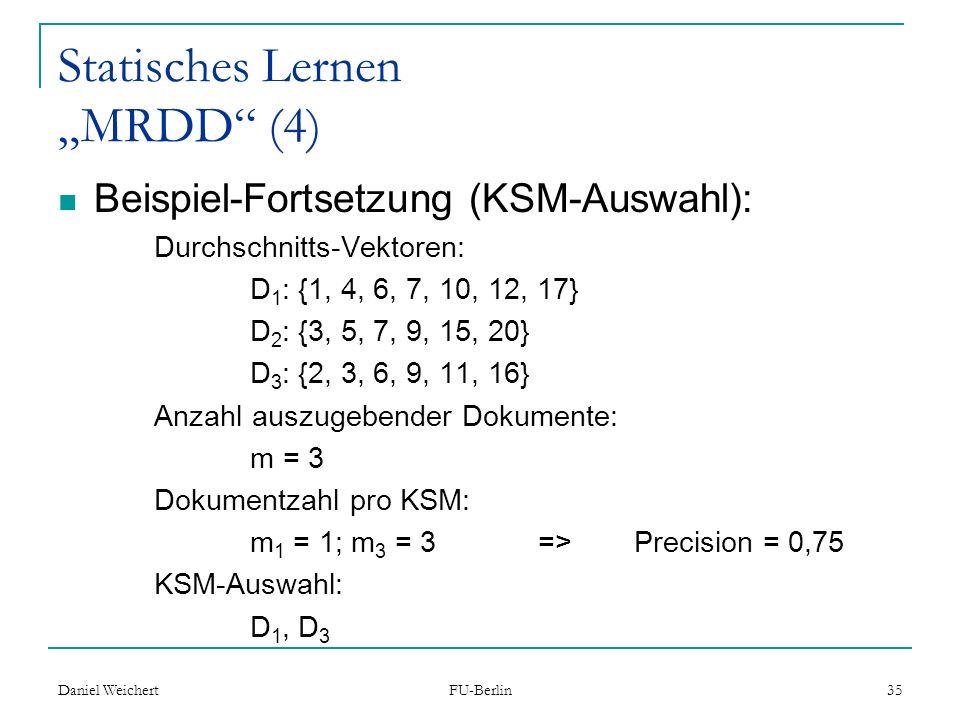 """Statisches Lernen """"MRDD (4)"""
