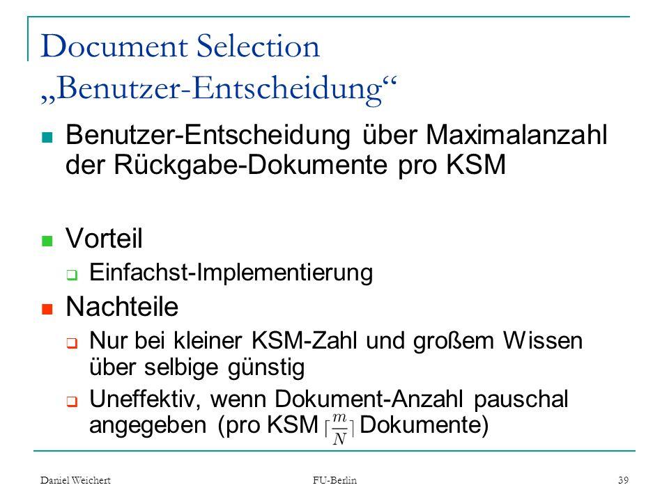 """Document Selection """"Benutzer-Entscheidung"""