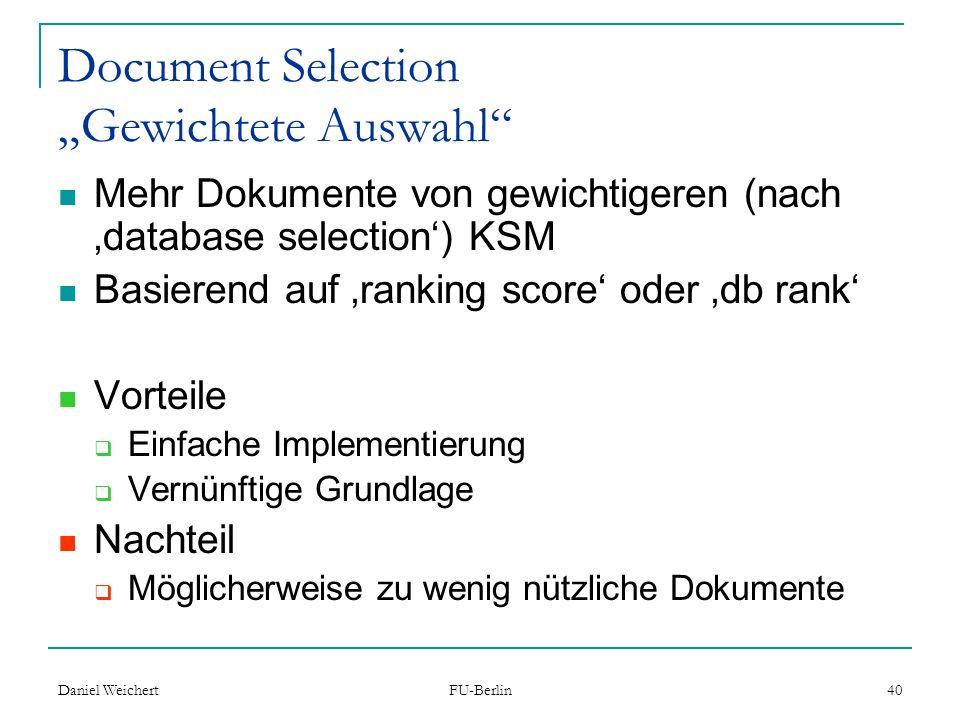 "Document Selection ""Gewichtete Auswahl"