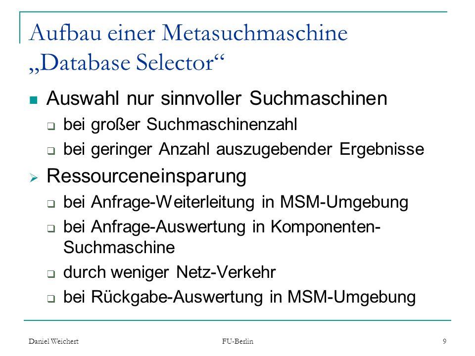"Aufbau einer Metasuchmaschine ""Database Selector"