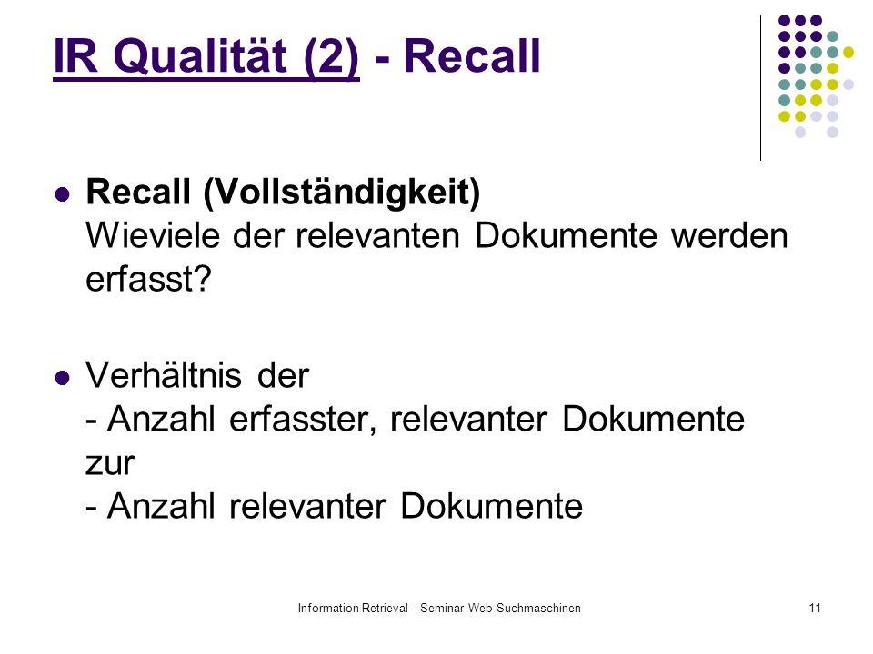 Information Retrieval - Seminar Web Suchmaschinen