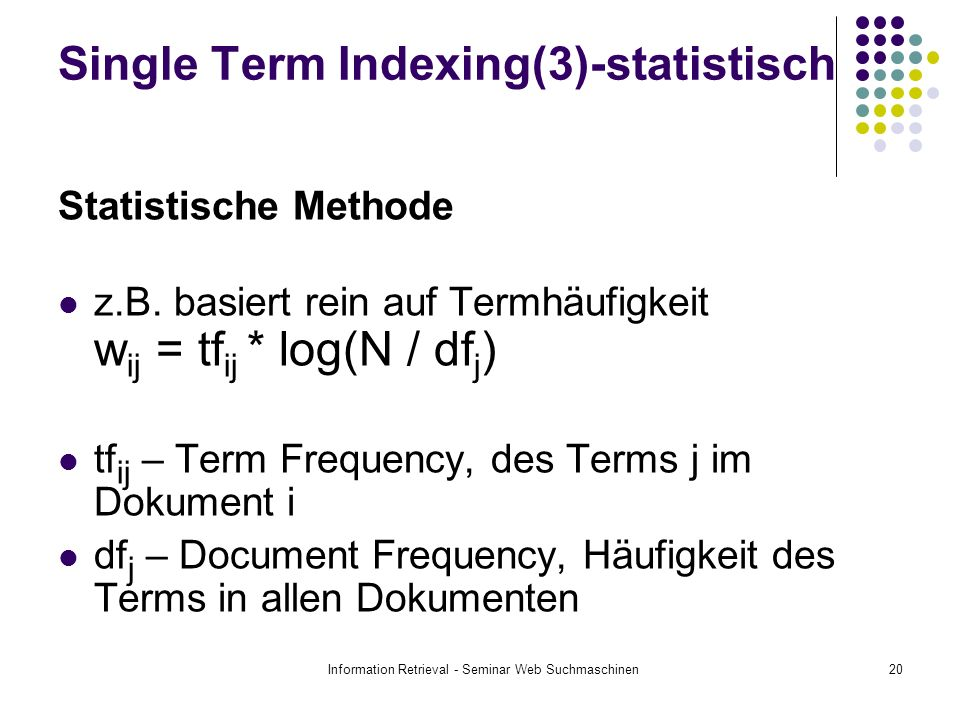 Single Term Indexing(3)-statistisch