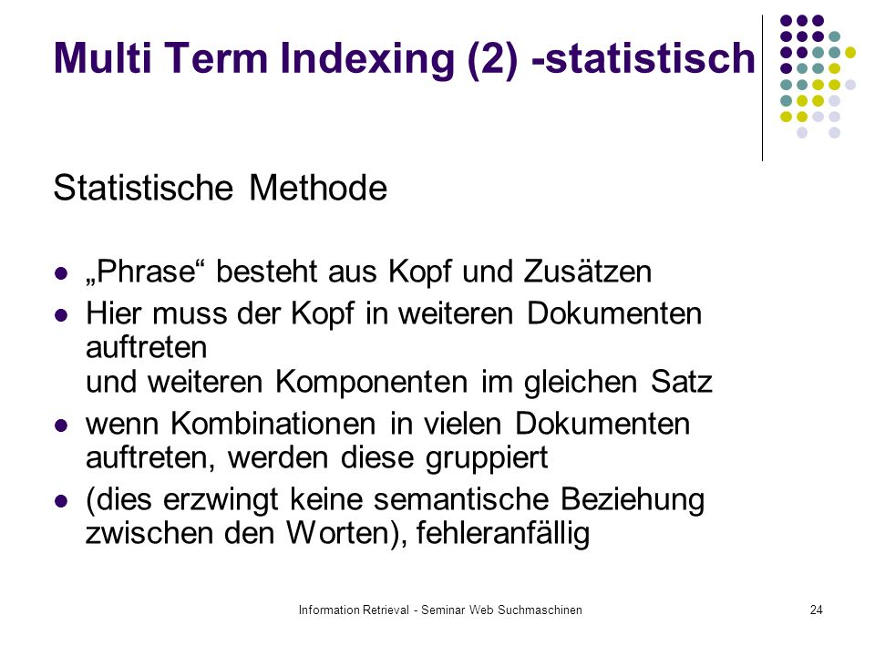 Multi Term Indexing (2) -statistisch