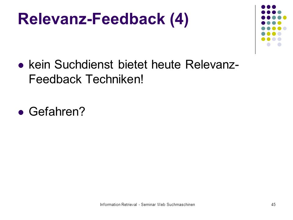 Information Retrieval - Seminar Web Suchmaschinen