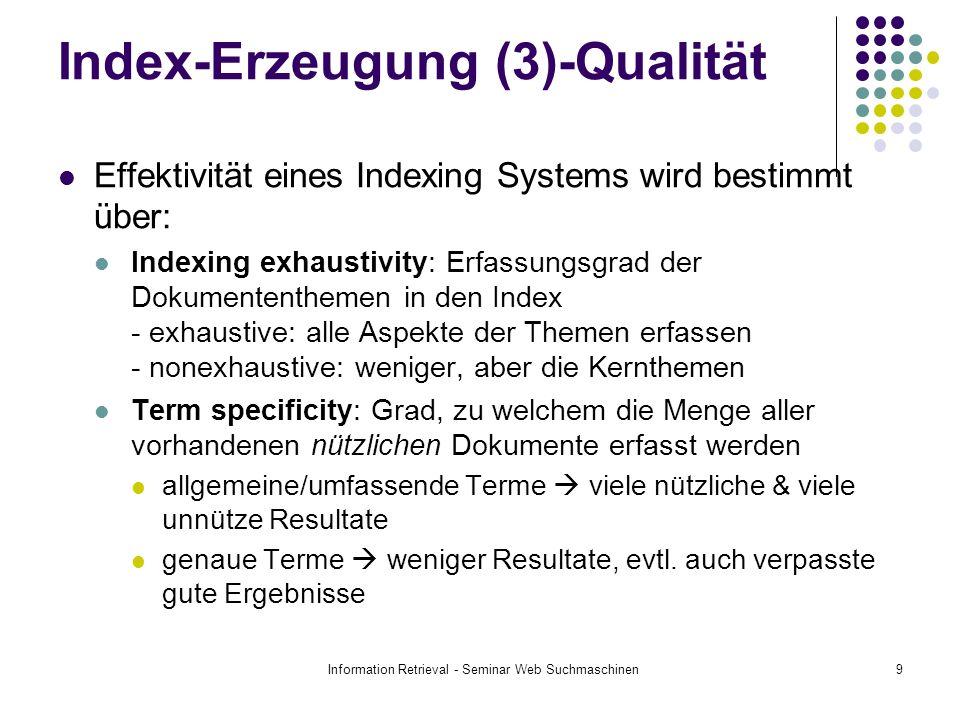 Index-Erzeugung (3)-Qualität