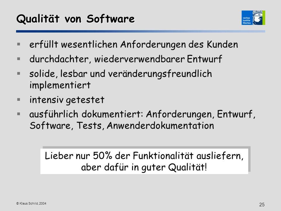 Qualität von Software erfüllt wesentlichen Anforderungen des Kunden