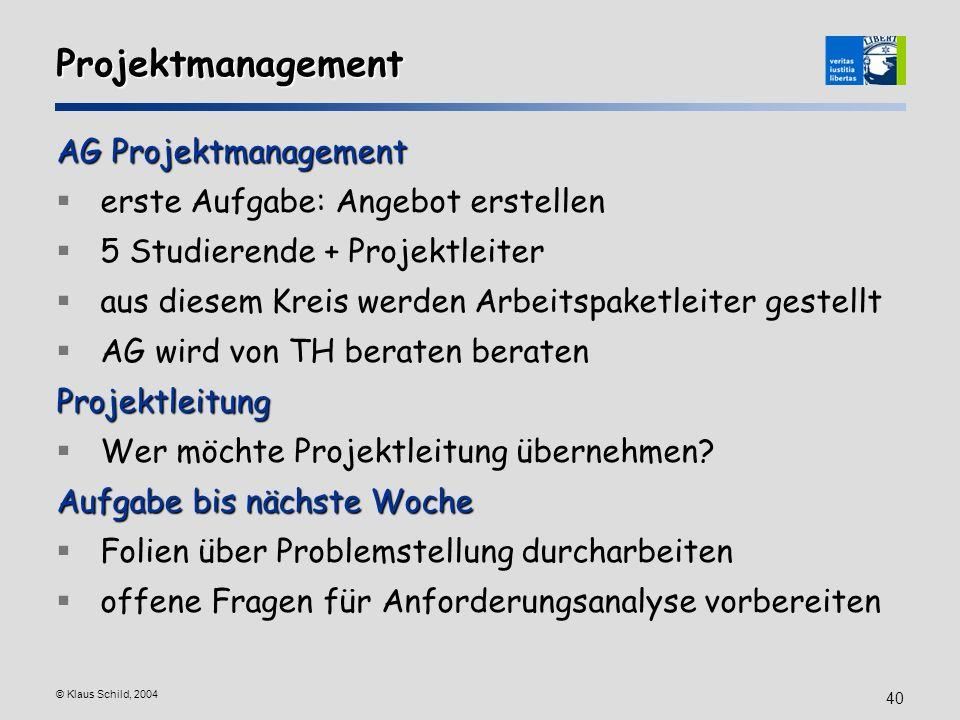 Projektmanagement AG Projektmanagement