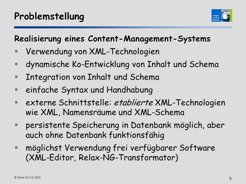 Problemstellung Realisierung eines Content-Management-Systems