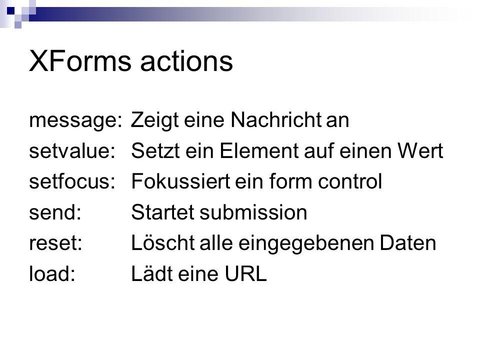 XForms actions message: Zeigt eine Nachricht an
