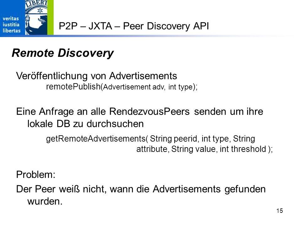Remote Discovery P2P – JXTA – Peer Discovery API