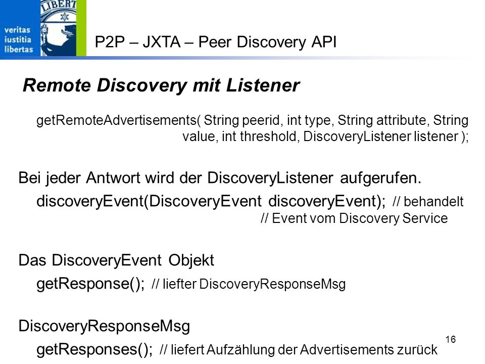 Remote Discovery mit Listener