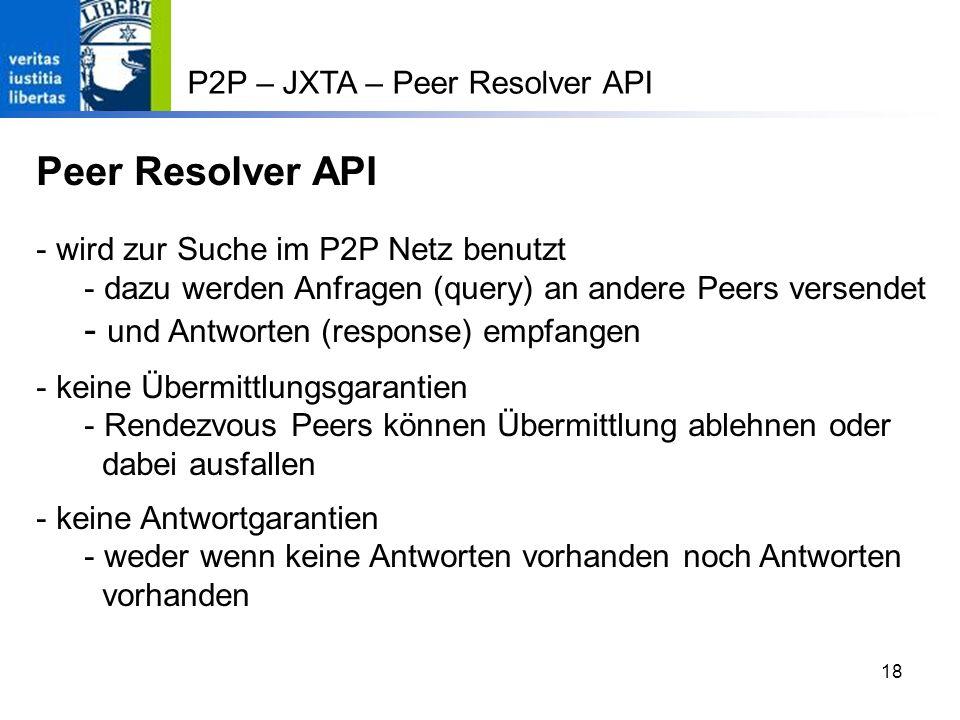 Peer Resolver API und Antworten (response) empfangen