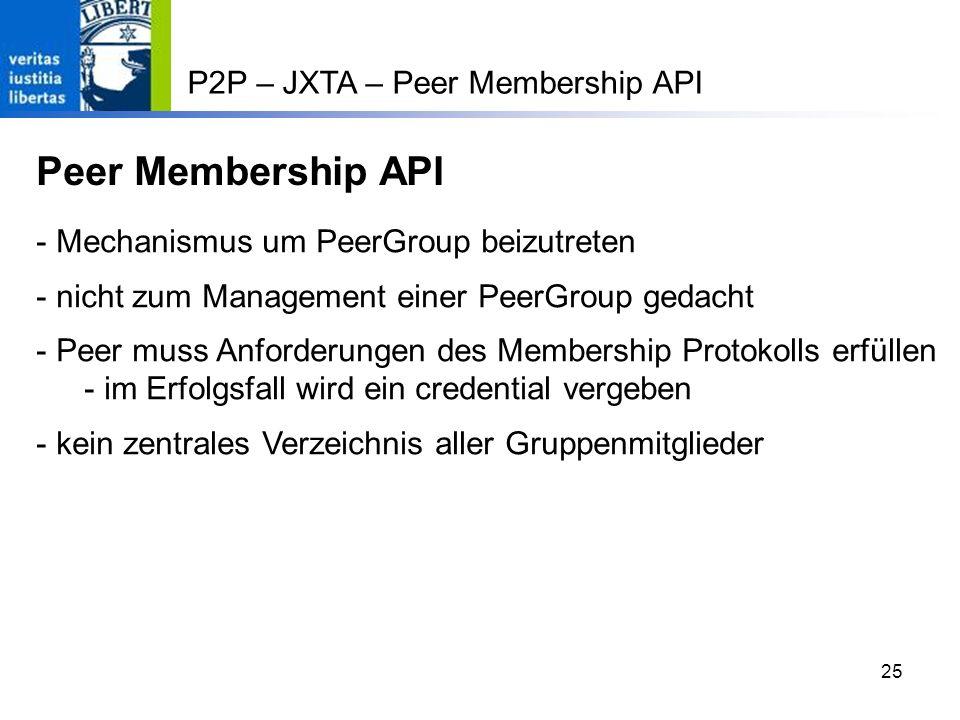 Peer Membership API P2P – JXTA – Peer Membership API
