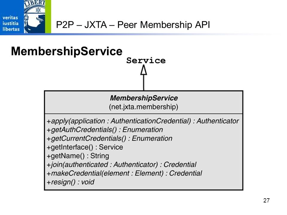 MembershipService P2P – JXTA – Peer Membership API Service