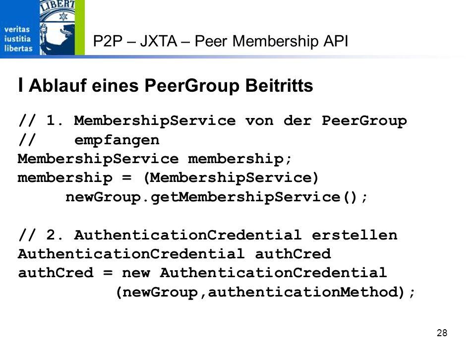 I Ablauf eines PeerGroup Beitritts