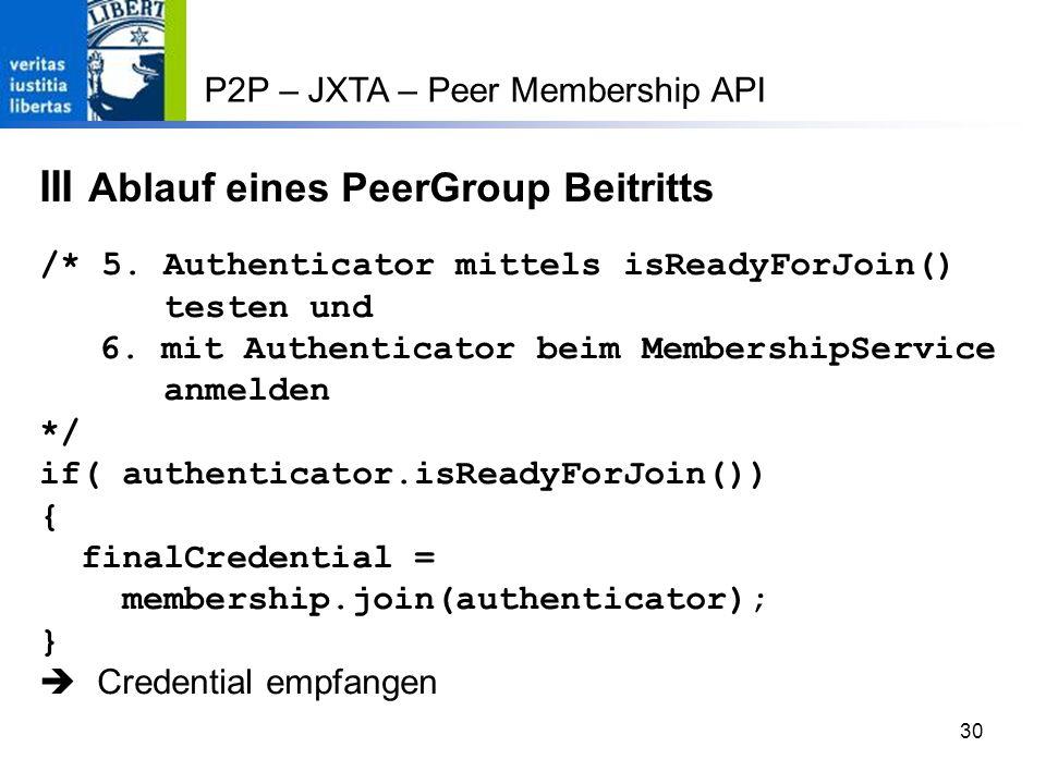 III Ablauf eines PeerGroup Beitritts