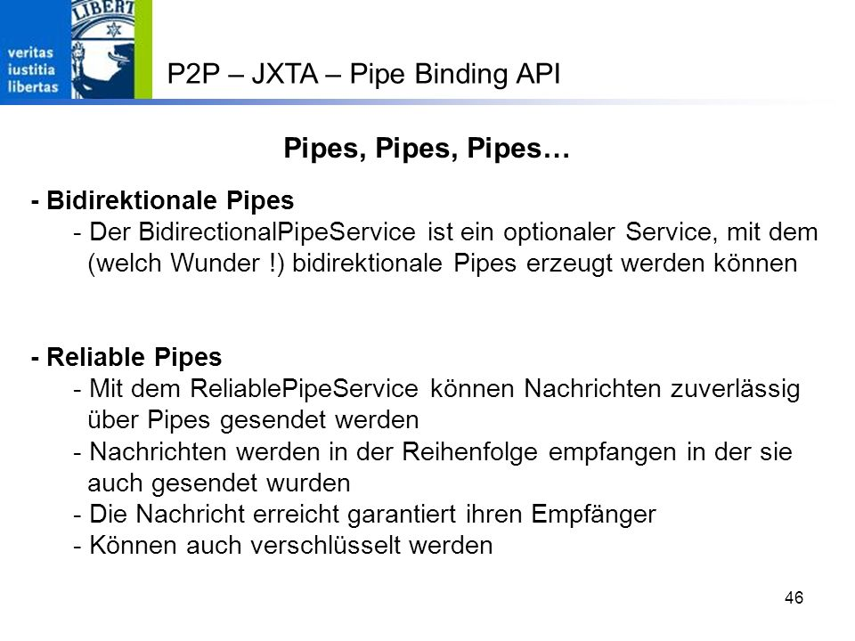 P2P – JXTA – Pipe Binding API