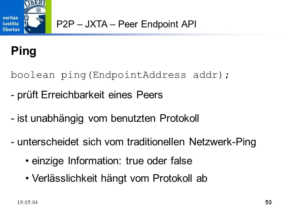 Ping boolean ping(EndpointAddress addr);