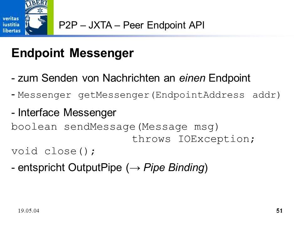 Endpoint Messenger - zum Senden von Nachrichten an einen Endpoint