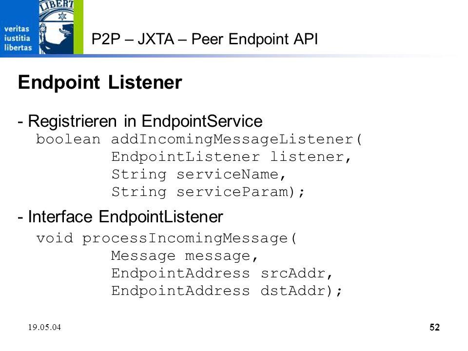 Endpoint Listener - Registrieren in EndpointService