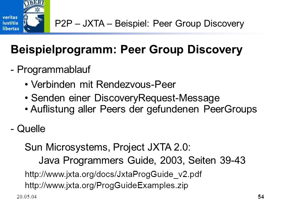 Beispielprogramm: Peer Group Discovery