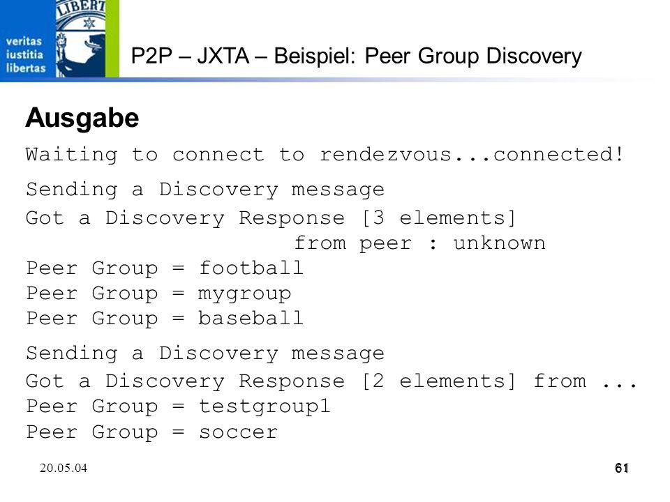 Ausgabe P2P – JXTA – Beispiel: Peer Group Discovery