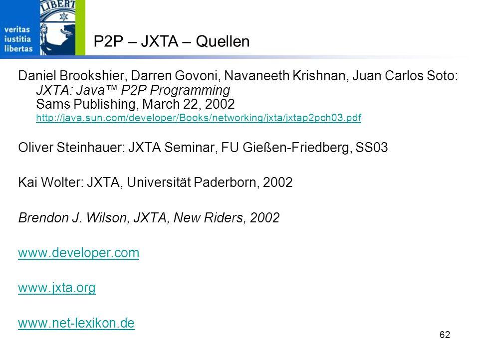 P2P – JXTA – Quellen