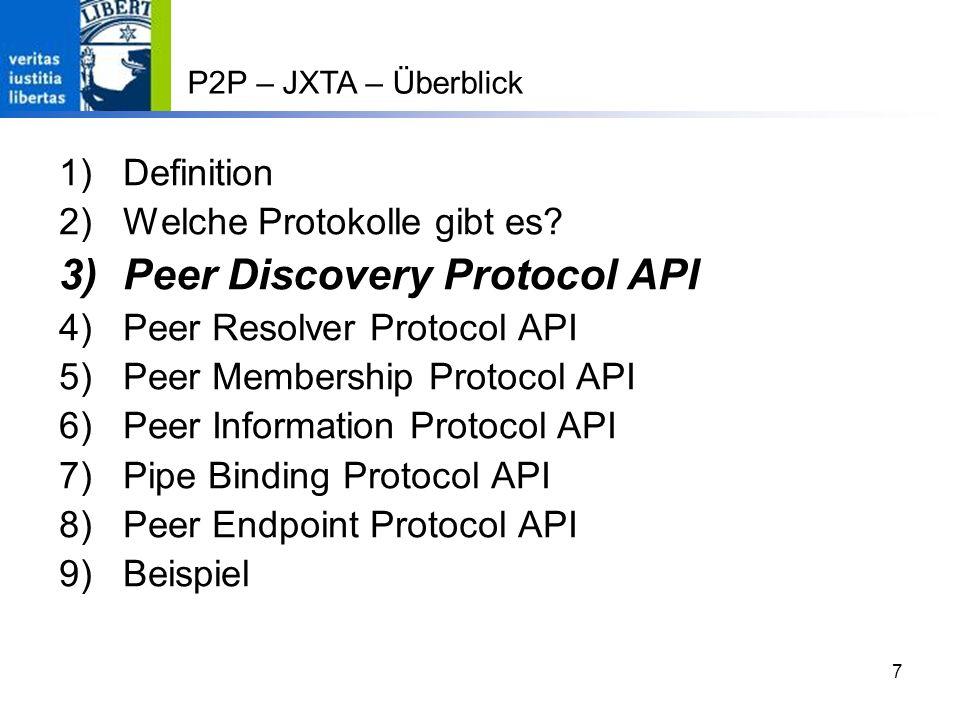 Peer Discovery Protocol API