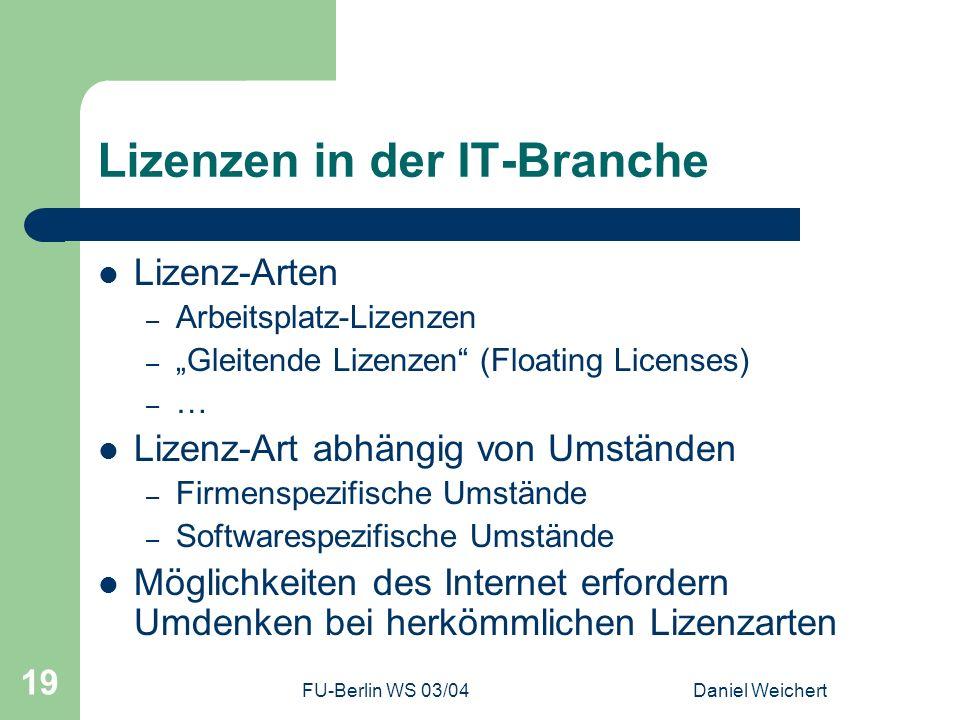 Lizenzen in der IT-Branche