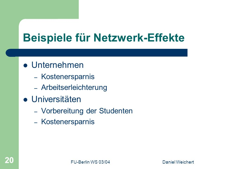 Beispiele für Netzwerk-Effekte