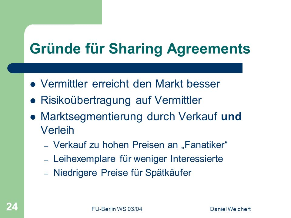 Gründe für Sharing Agreements